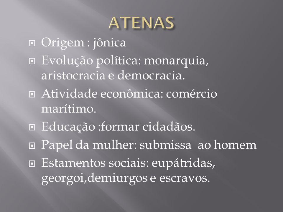 Origem : jônica Evolução política: monarquia, aristocracia e democracia. Atividade econômica: comércio marítimo. Educação :formar cidadãos. Papel da m