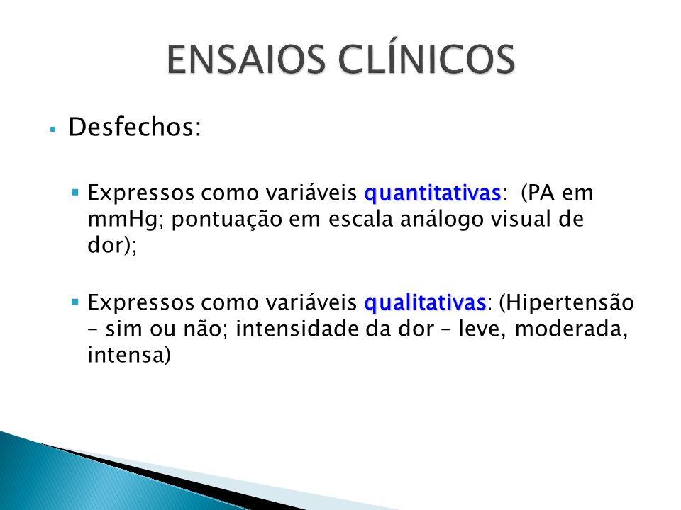 Desfechos: quantitativas Expressos como variáveis quantitativas: (PA em mmHg; pontuação em escala análogo visual de dor); qualitativas Expressos como