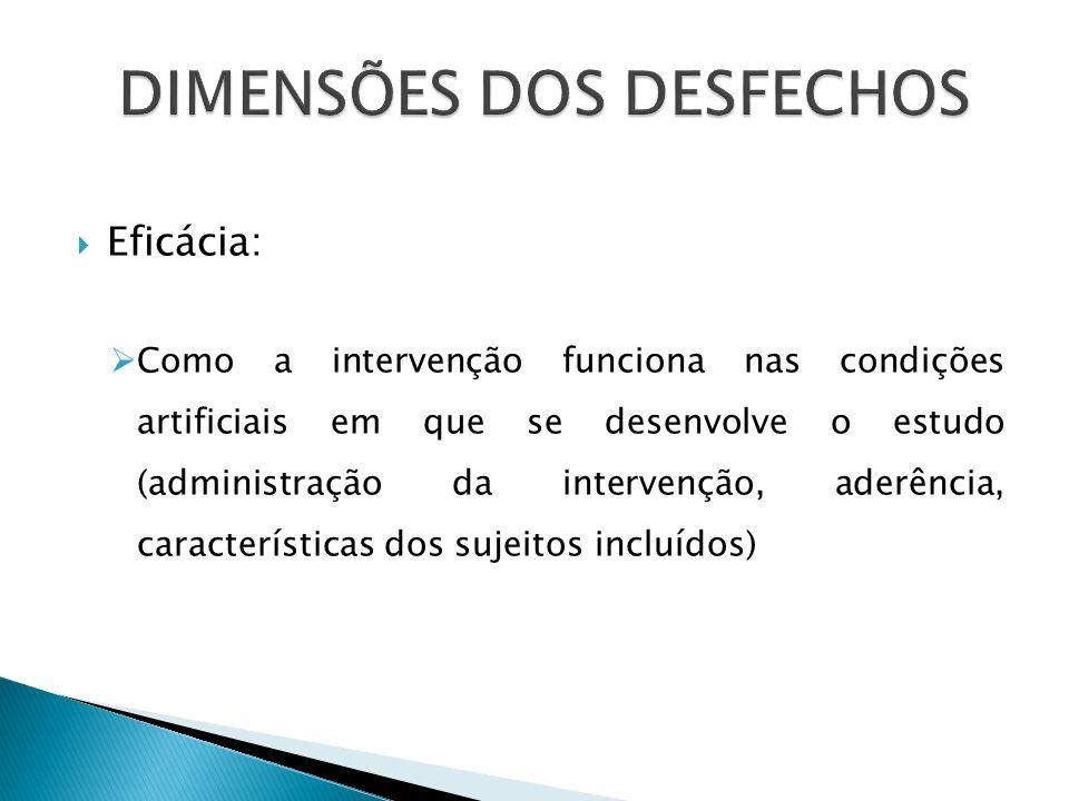 Eficácia: Como a intervenção funciona nas condições artificiais em que se desenvolve o estudo (administração da intervenção, aderência, característica