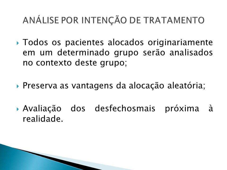 Todos os pacientes alocados originariamente em um determinado grupo serão analisados no contexto deste grupo; Preserva as vantagens da alocação aleató