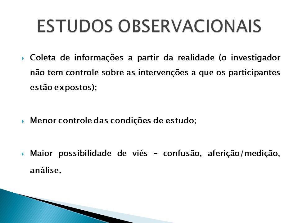 Coleta de informações a partir da realidade (o investigador não tem controle sobre as intervenções a que os participantes estão expostos); Menor contr