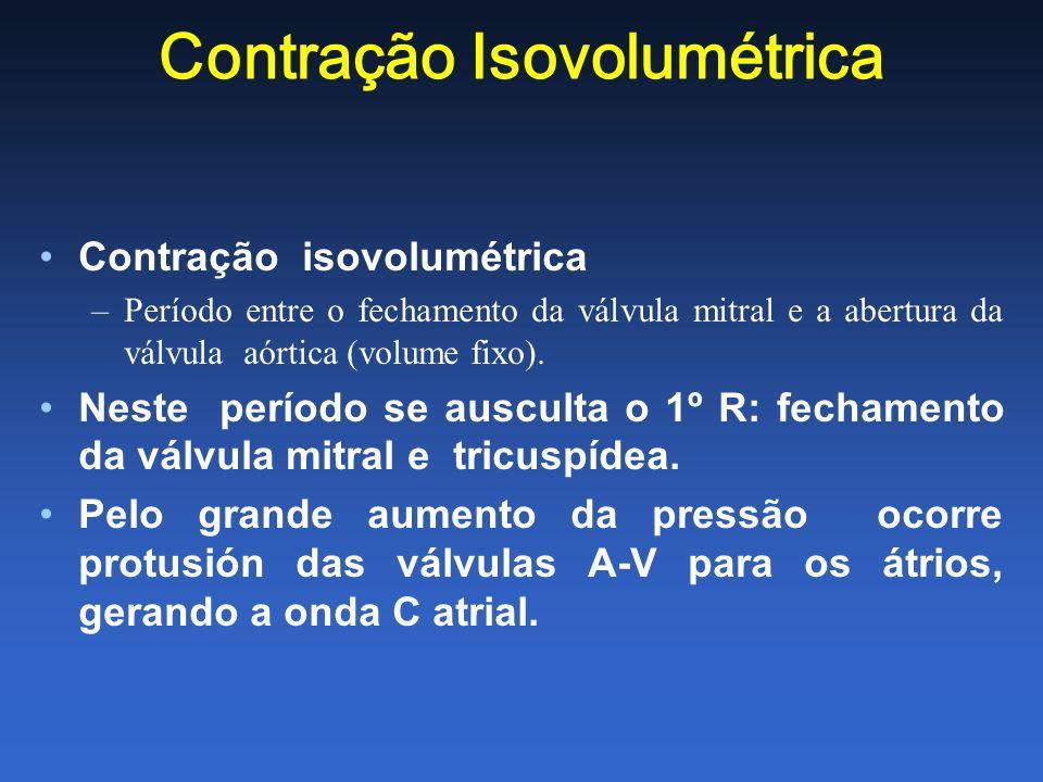 Contração Isovolumétrica Contração isovolumétrica –Período entre o fechamento da válvula mitral e a abertura da válvula aórtica (volume fixo). Neste p