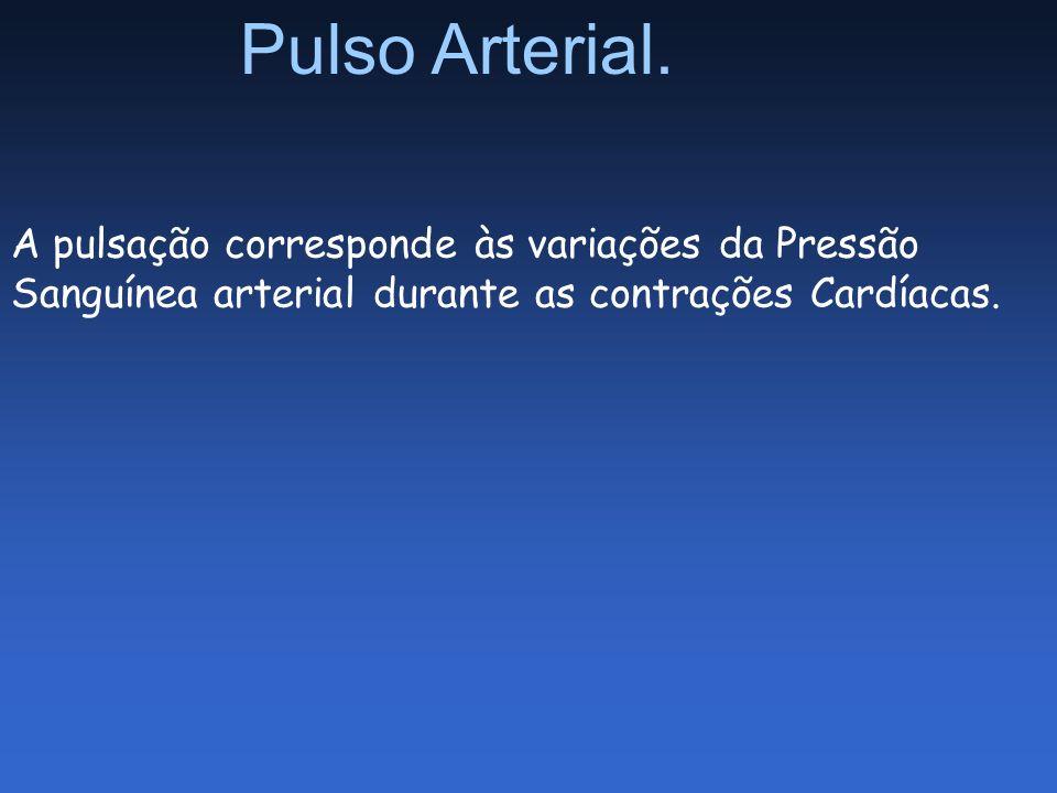 Pulso Arterial. A pulsação corresponde às variações da Pressão Sanguínea arterial durante as contrações Cardíacas.