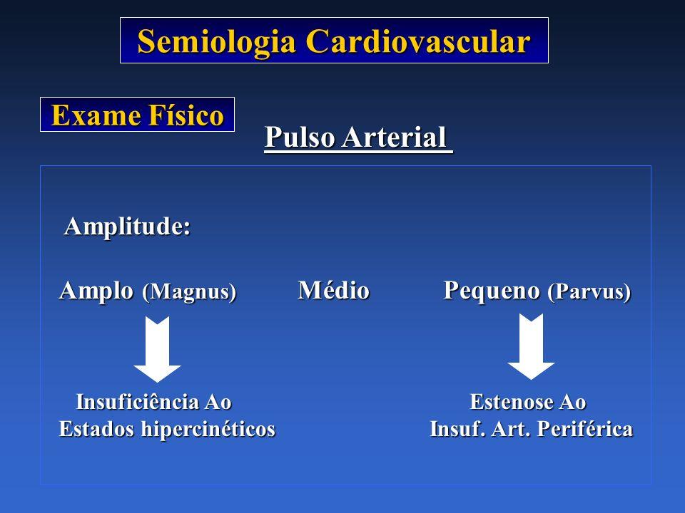 Semiologia Cardiovascular Exame Físico Pulso Arterial Amplitude: Amplitude: Amplo (Magnus) Médio Pequeno (Parvus) Insuficiência AoEstenose Ao Insufici