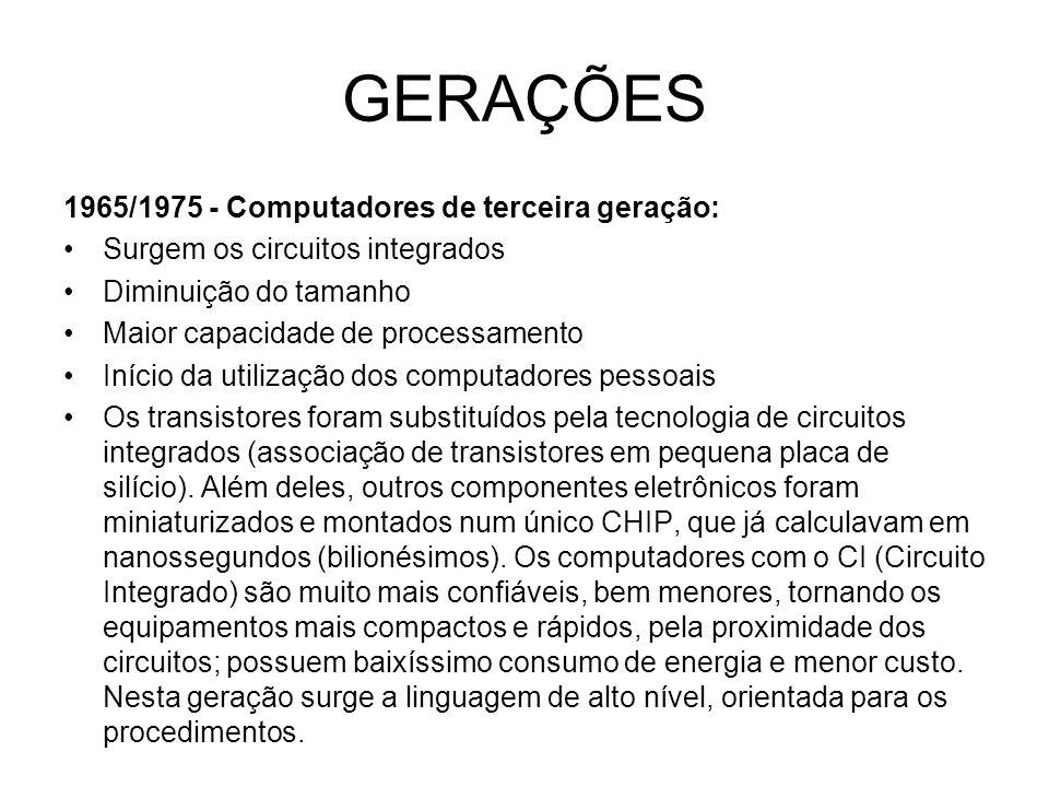 GERAÇÕES 1965/1975 - Computadores de terceira geração: Surgem os circuitos integrados Diminuição do tamanho Maior capacidade de processamento Início d