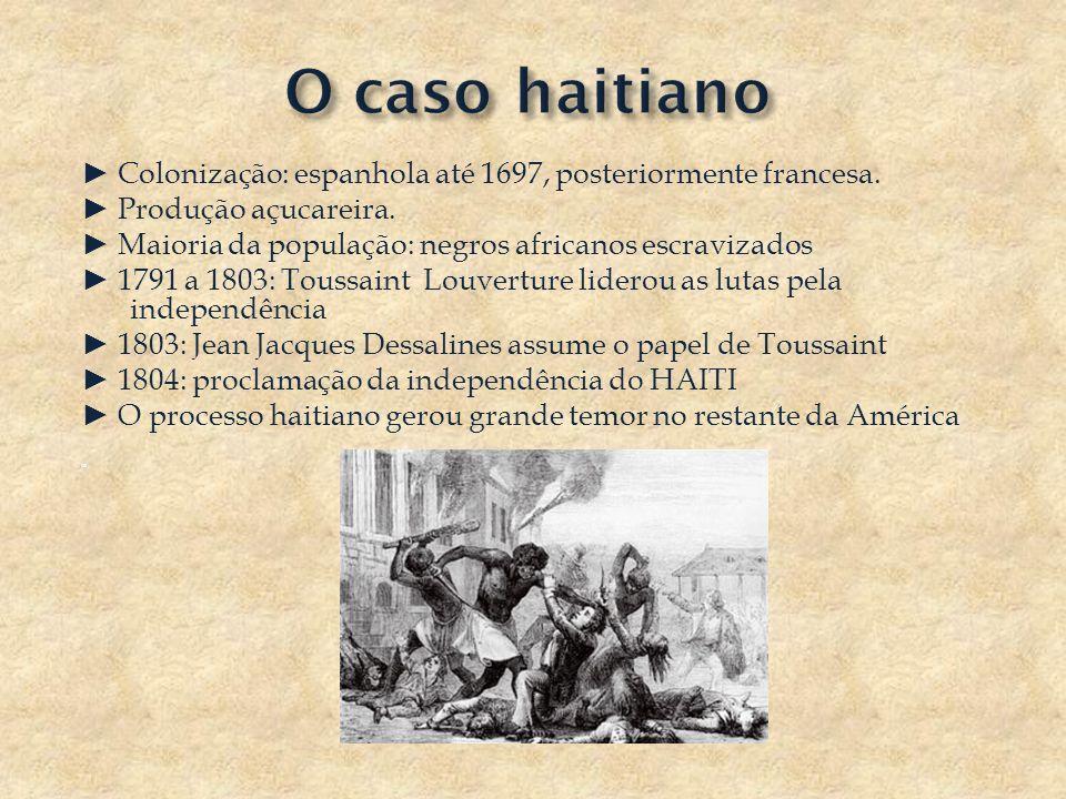 Colonização: espanhola até 1697, posteriormente francesa. Produção açucareira. Maioria da população: negros africanos escravizados 1791 a 1803: Toussa