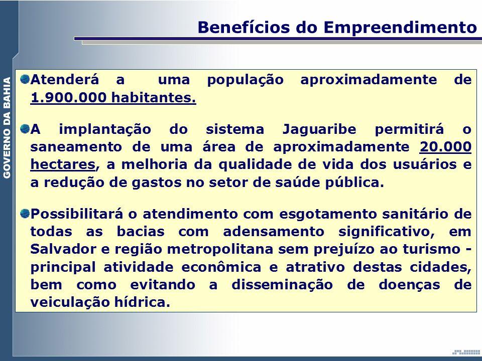 Implantação do Novo Emissário e Obras Complementares Um segundo Emissário Submarino Atendimento - Salvador - Lauro de Freitas - Adensamento das Bacias Existentes