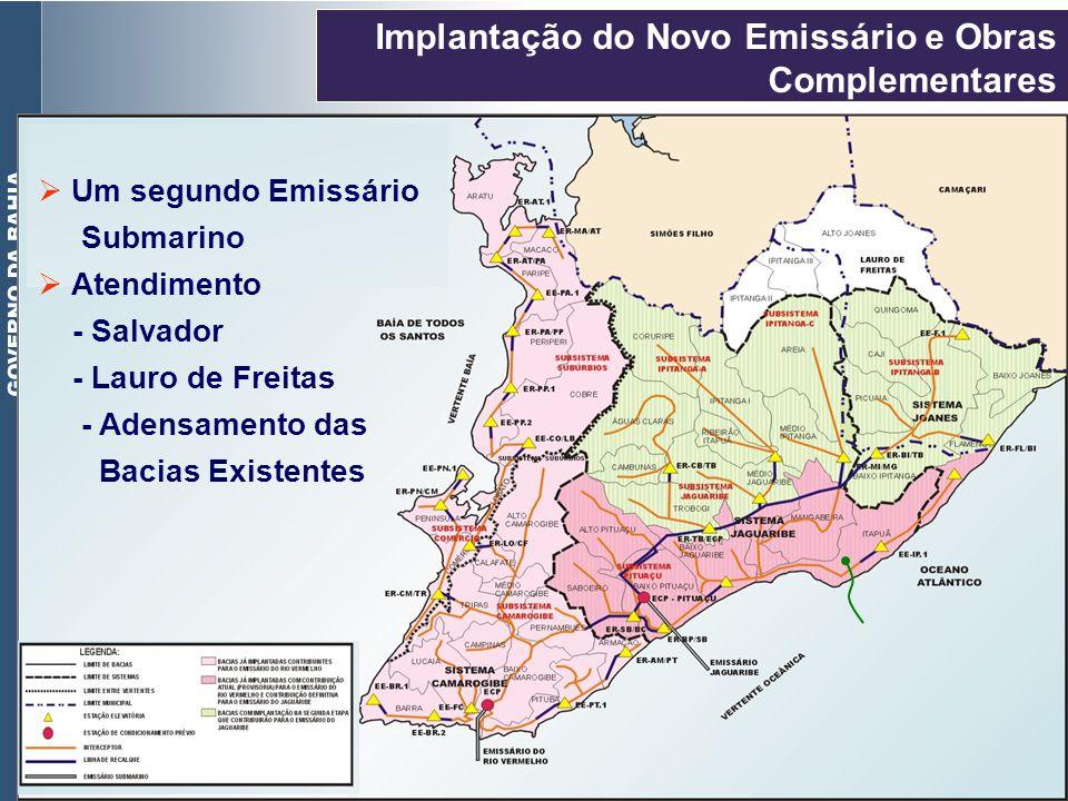 Características da Obra Emissário terrestre: 1.509 m de extensão e 1600 mm de diâmetro Implantação do Novo Emissário e Obras Complementares (CONTINUAÇÃO) Estação para Condicionamento Prévio (ECP) para vazão de 3,m3/s Emissário submarino: extensão de 3.648 m capacidade para 5,9 m3/s.