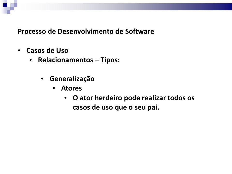 Processo de Desenvolvimento de Software Casos de Uso Relacionamentos – Tipos: Generalização Atores O ator herdeiro pode realizar todos os casos de uso que o seu pai.