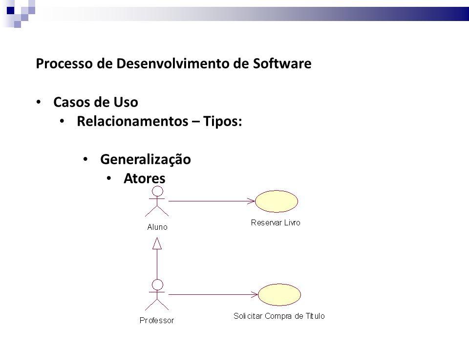 Processo de Desenvolvimento de Software Casos de Uso Relacionamentos – Tipos: Generalização Atores