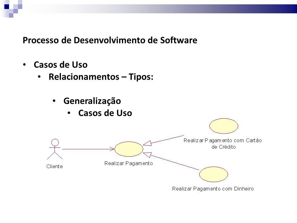 Processo de Desenvolvimento de Software Casos de Uso Relacionamentos – Tipos: Generalização Casos de Uso