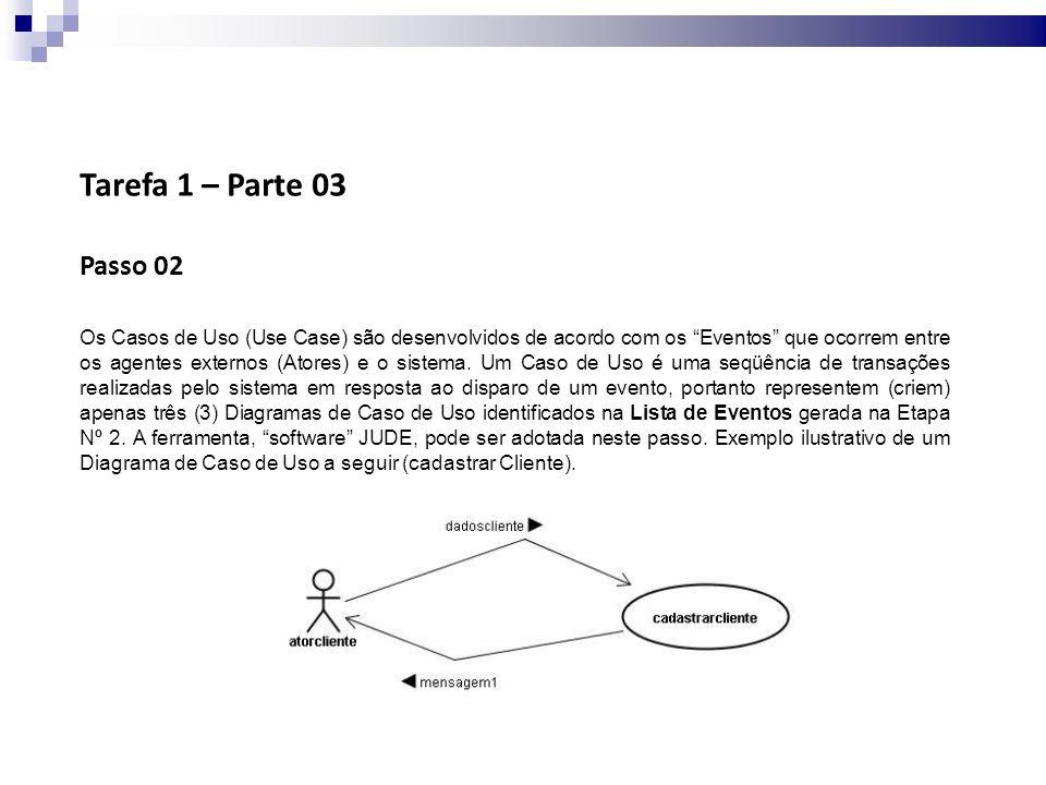 Tarefa 1 – Parte 03 Passo 02 Os Casos de Uso (Use Case) são desenvolvidos de acordo com os Eventos que ocorrem entre os agentes externos (Atores) e o sistema.