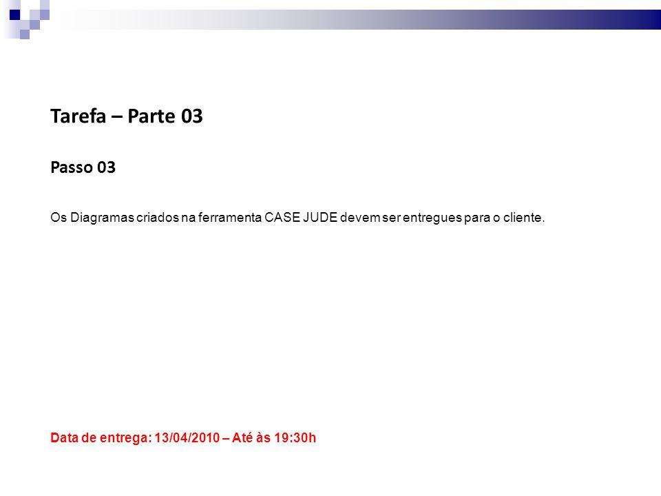 Tarefa – Parte 03 Passo 03 Os Diagramas criados na ferramenta CASE JUDE devem ser entregues para o cliente.