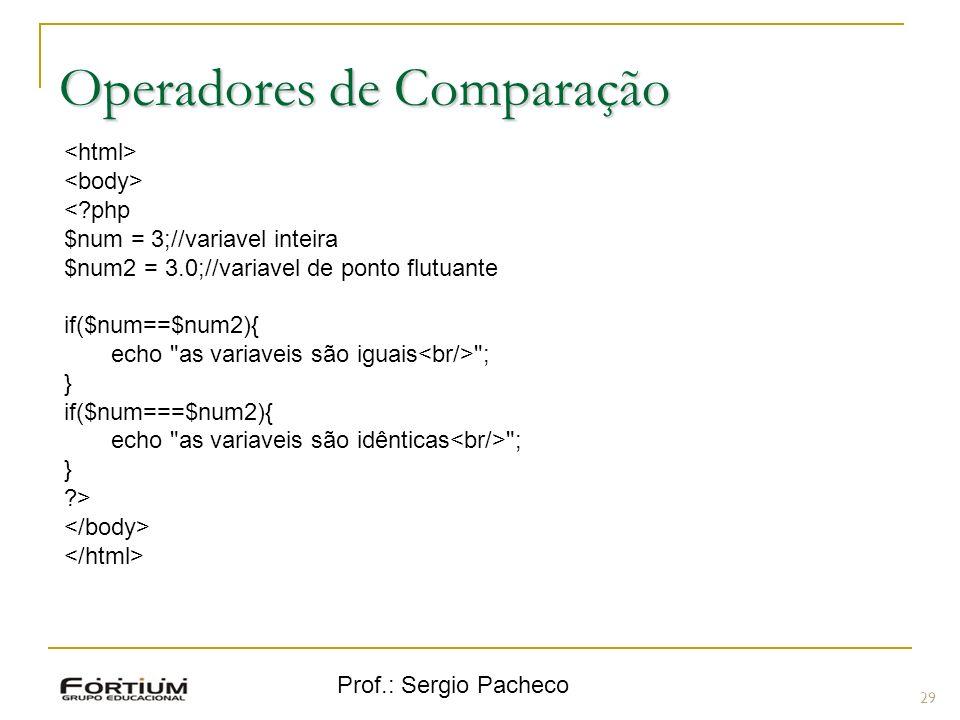 Prof.: Sergio Pacheco Operadores de Comparação 29 <?php $num = 3;//variavel inteira $num2 = 3.0;//variavel de ponto flutuante if($num==$num2){ echo
