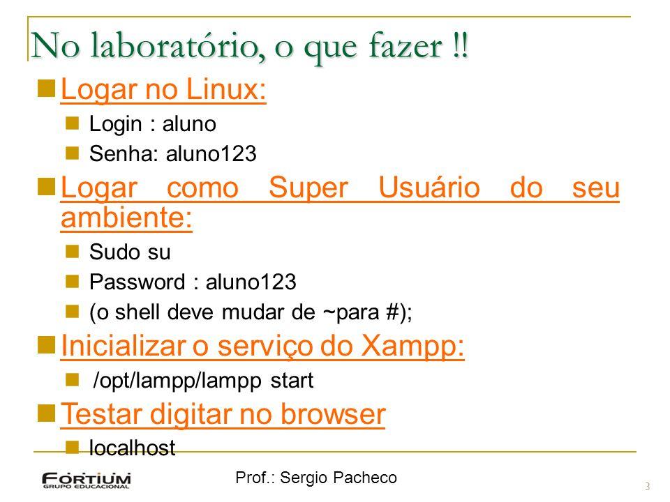 Prof.: Sergio Pacheco No laboratório, o que fazer !! 3 Logar no Linux: Login : aluno Senha: aluno123 Logar como Super Usuário do seu ambiente: Sudo su