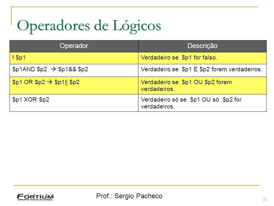 Prof.: Sergio Pacheco Operadores de Lógicos 32 OperadorDescrição ! $p1Verdadeiro se $p1 for falso. $p1AND $p2 $p1&& $p2Verdadeiro se $p1 E $p2 forem v