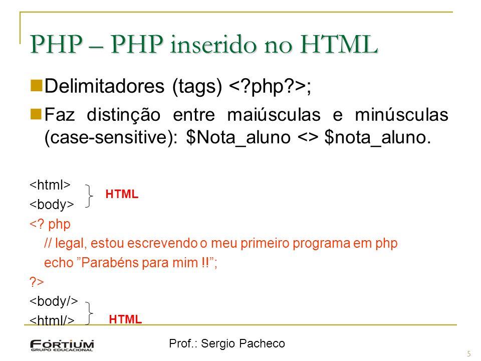Prof.: Sergio Pacheco PHP inserido no HTML Entendendo as tags: 6 ElementoDescrição <?phpInforma que começa um programa php.