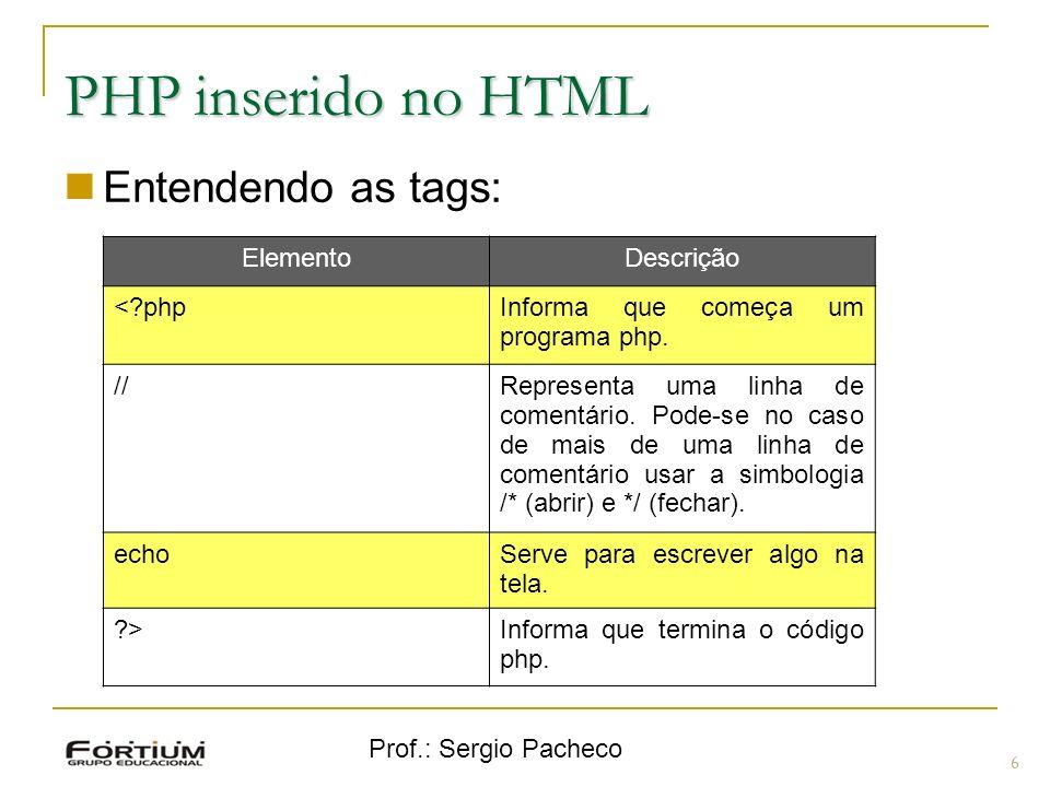 Prof.: Sergio Pacheco PHP inserido no HTML Entendendo as tags: 6 ElementoDescrição <?phpInforma que começa um programa php. //Representa uma linha de
