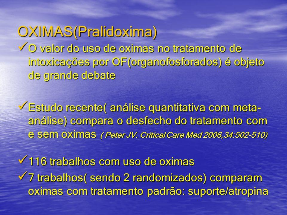 OXIMAS(Pralidoxima) O valor do uso de oximas no tratamento de intoxicações por OF(organofosforados) é objeto de grande debate O valor do uso de oximas