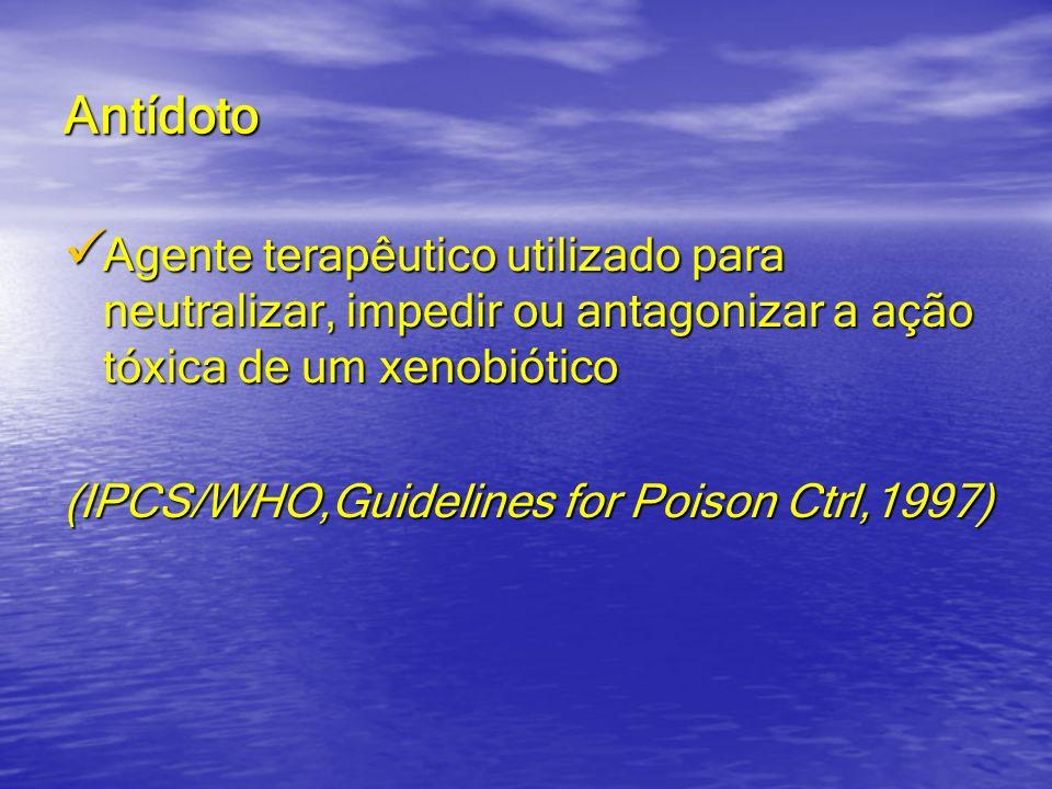 Antídoto Agente terapêutico utilizado para neutralizar, impedir ou antagonizar a ação tóxica de um xenobiótico Agente terapêutico utilizado para neutr