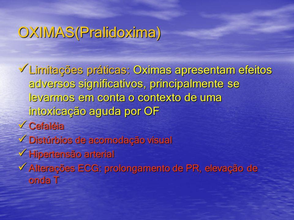 OXIMAS(Pralidoxima) Limitações práticas: Oximas apresentam efeitos adversos significativos, principalmente se levarmos em conta o contexto de uma into