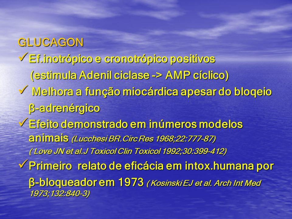 GLUCAGON Ef.inotrópico e cronotrópico positivos Ef.inotrópico e cronotrópico positivos (estimula Adenil ciclase -> AMP cíclico) (estimula Adenil cicla