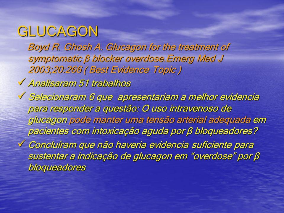 GLUCAGON Boyd R. Ghosh A. Glucagon for the treatment of symptomatic β blocker overdose.Emerg Med J 2003;20:266 ( Best Evidence Topic ) Boyd R. Ghosh A
