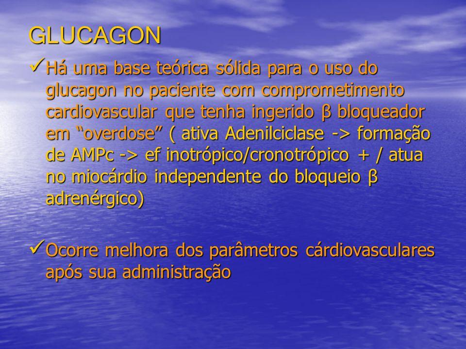 GLUCAGON Há uma base teórica sólida para o uso do glucagon no paciente com comprometimento cardiovascular que tenha ingerido β bloqueador em overdose