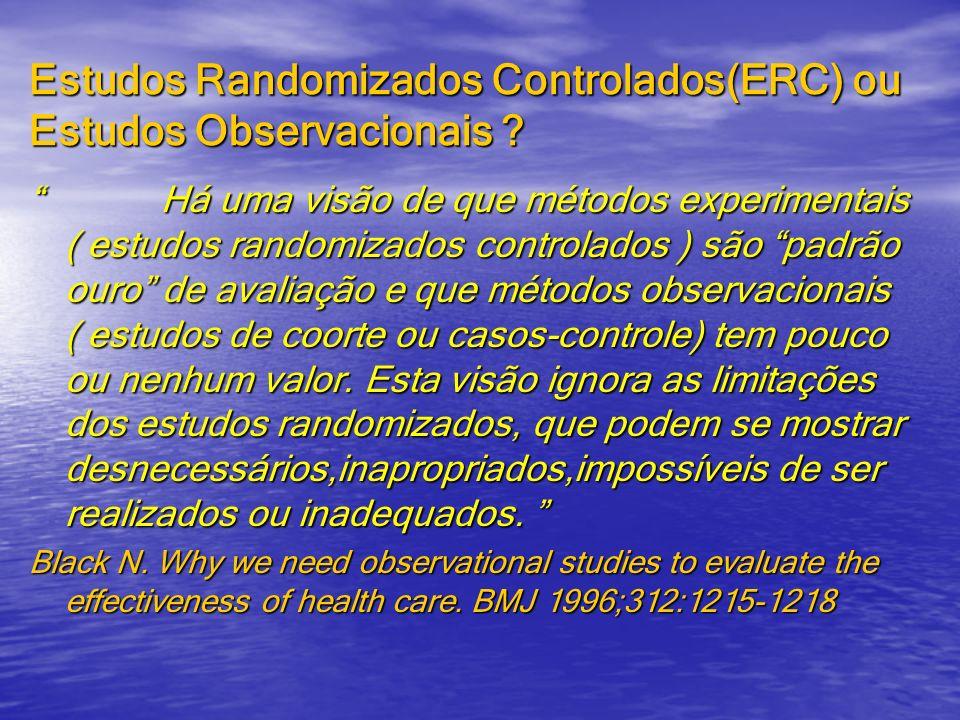 Estudos Randomizados Controlados(ERC) ou Estudos Observacionais ? Há uma visão de que métodos experimentais ( estudos randomizados controlados ) são p