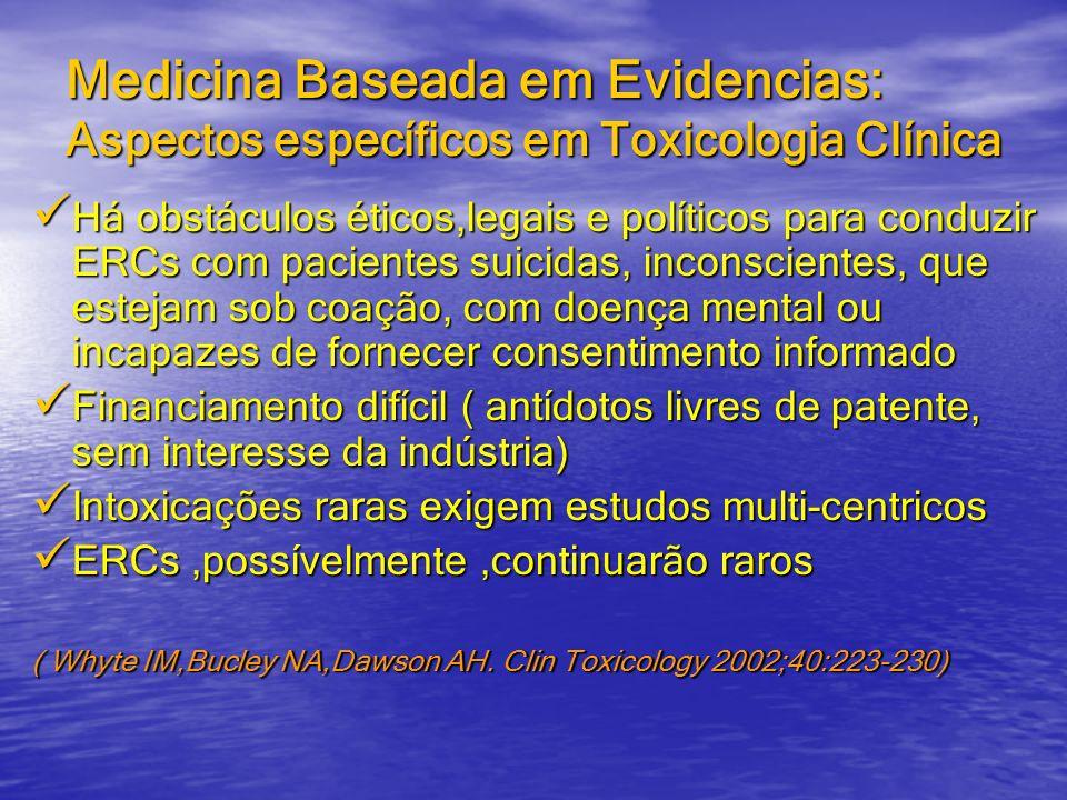 Medicina Baseada em Evidencias: Aspectos específicos em Toxicologia Clínica Há obstáculos éticos,legais e políticos para conduzir ERCs com pacientes s