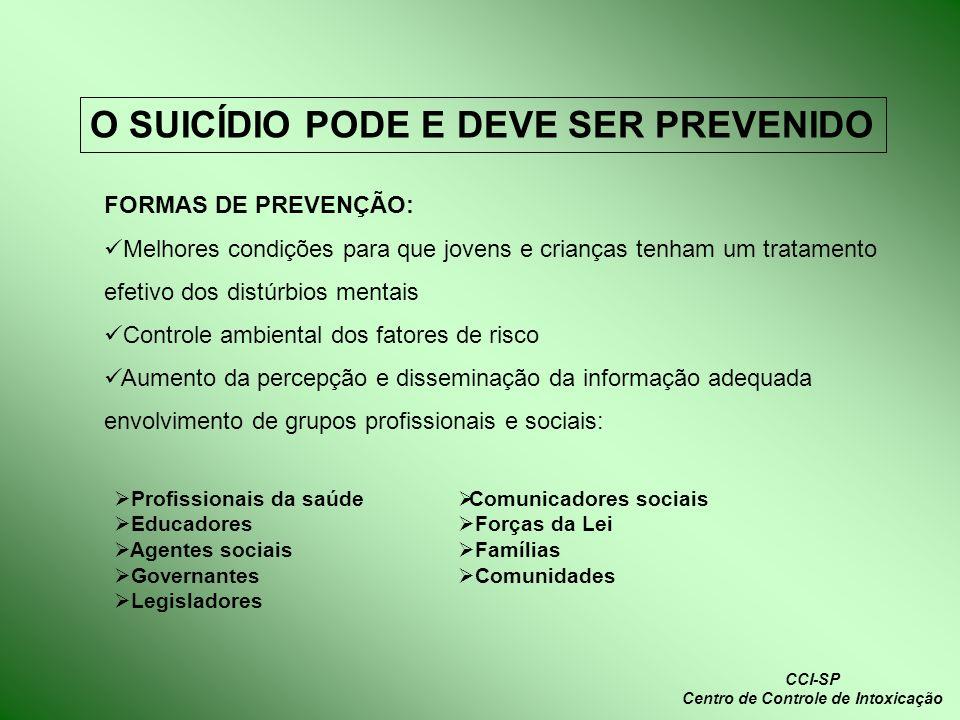 O SUICÍDIO PODE E DEVE SER PREVENIDO FORMAS DE PREVENÇÃO: Melhores condições para que jovens e crianças tenham um tratamento efetivo dos distúrbios me