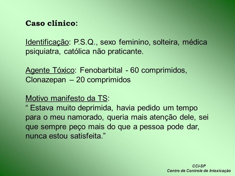 Caso clínico : Identificação: P.S.Q., sexo feminino, solteira, médica psiquiatra, católica não praticante. Agente Tóxico: Fenobarbital - 60 comprimido