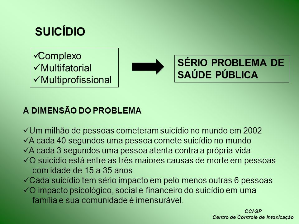CCI-SP Centro de Controle de Intoxicação Complexo Multifatorial Multiprofissional SÉRIO PROBLEMA DE SAÚDE PÚBLICA SUICÍDIO A DIMENSÃO DO PROBLEMA Um m
