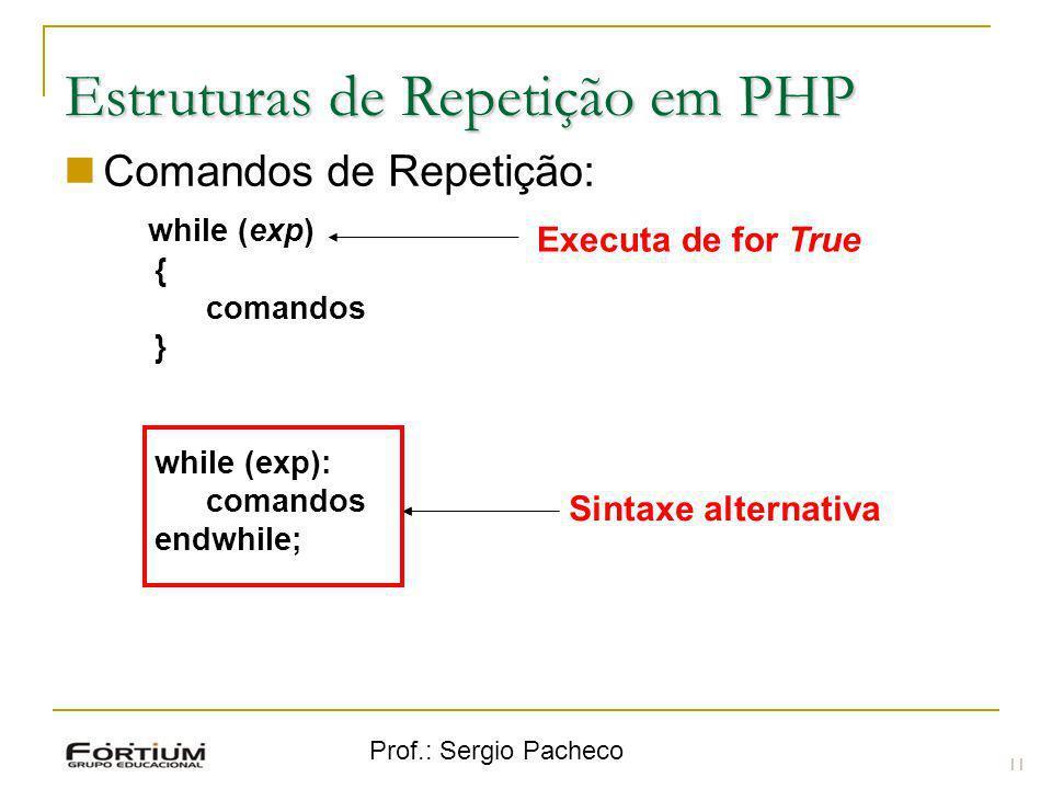 Prof.: Sergio Pacheco Estruturas de Repetição em PHP Comandos de Repetição: while (exp) { comandos } while (exp): comandos endwhile; 11 Sintaxe altern
