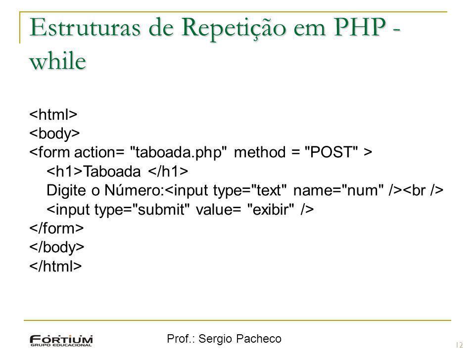Prof.: Sergio Pacheco Estruturas de Repetição em PHP - while Taboada Digite o Número: 12