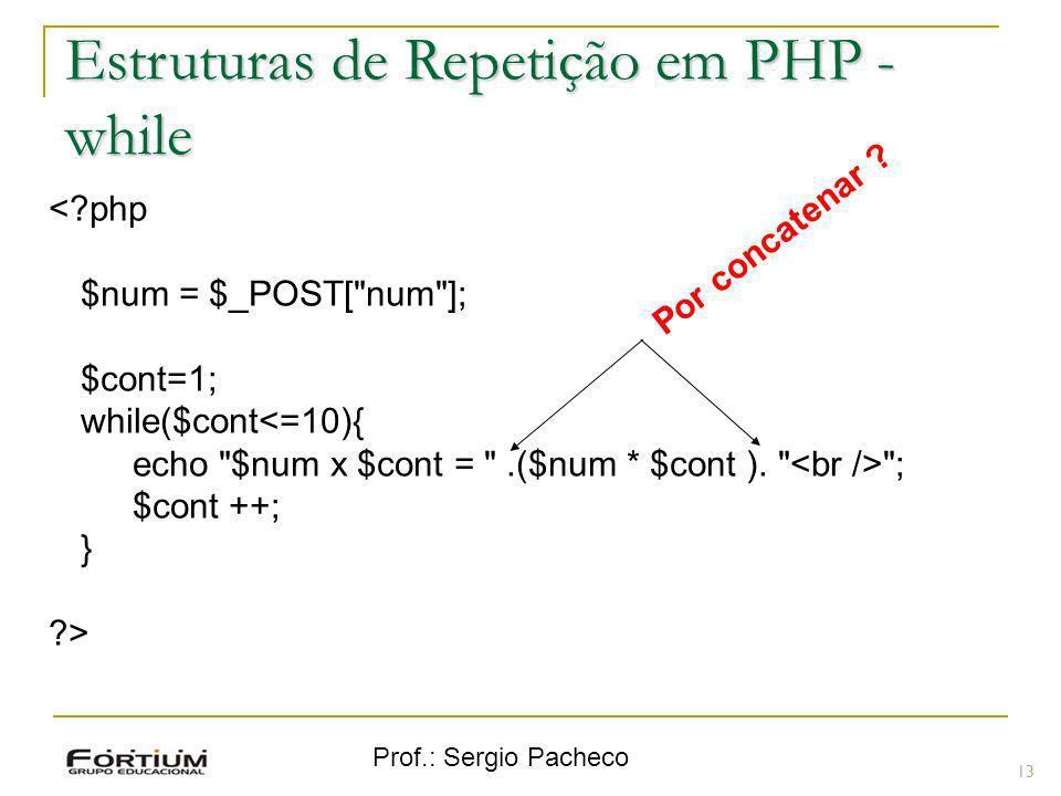 Prof.: Sergio Pacheco 13 <?php $num = $_POST[