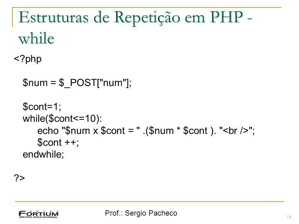 Prof.: Sergio Pacheco 14 <?php $num = $_POST[