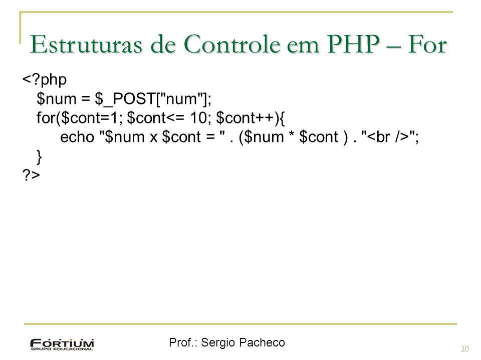 Prof.: Sergio Pacheco 20 <?php $num = $_POST[