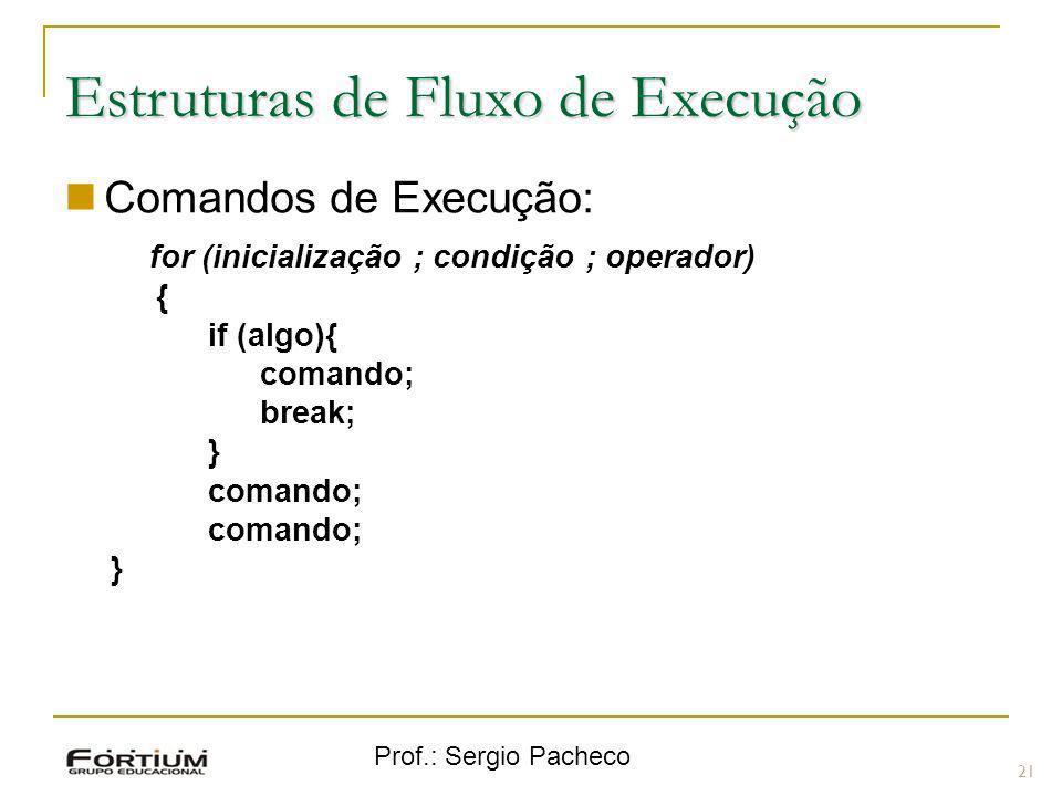 Prof.: Sergio Pacheco Estruturas de Fluxo de Execução Comandos de Execução: for (inicialização ; condição ; operador) { if (algo){ comando; break; } c