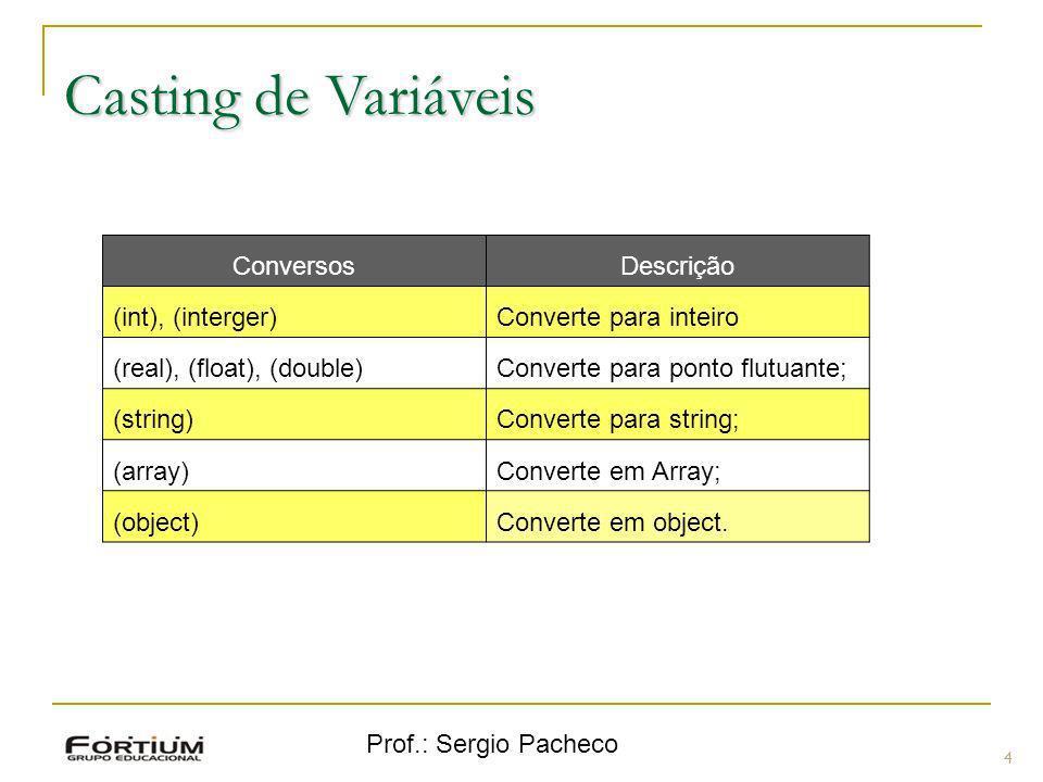 Prof.: Sergio Pacheco Casting de Variáveis 4 ConversosDescrição (int), (interger)Converte para inteiro (real), (float), (double)Converte para ponto fl