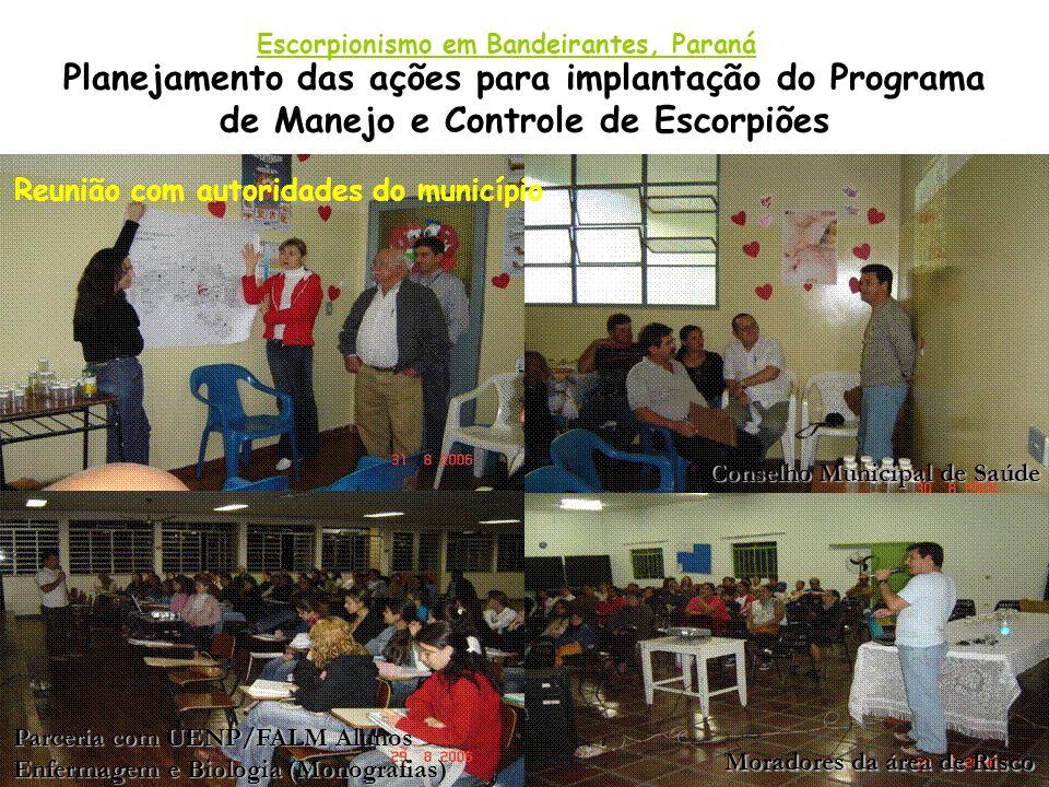 Planejamento das ações para implantação do Programa de Manejo e Controle de Escorpiões Escorpionismo em Bandeirantes, Paraná Reunião com autoridades d