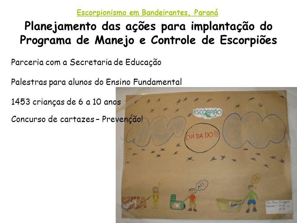 Planejamento das ações para implantação do Programa de Manejo e Controle de Escorpiões Escorpionismo em Bandeirantes, Paraná Parceria com a Secretaria