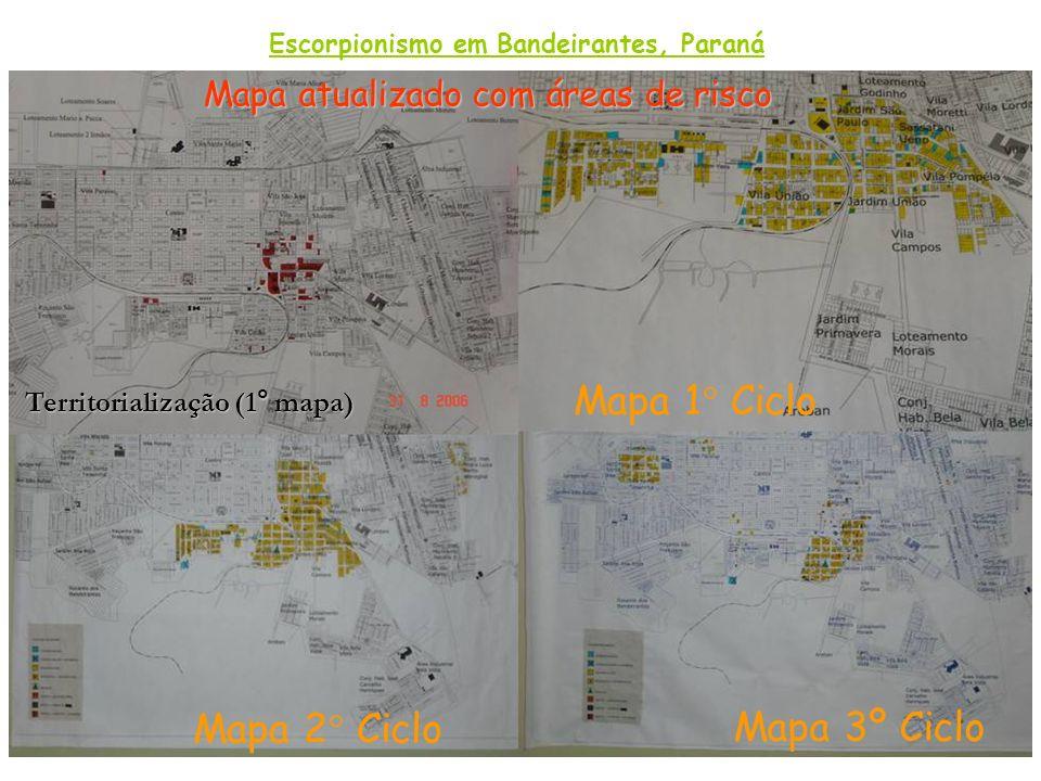 Mapa atualizado com áreas de risco Mapa 2° Ciclo Territorialização (1° mapa) Mapa 3º Ciclo Mapa 1° Ciclo Escorpionismo em Bandeirantes, Paraná