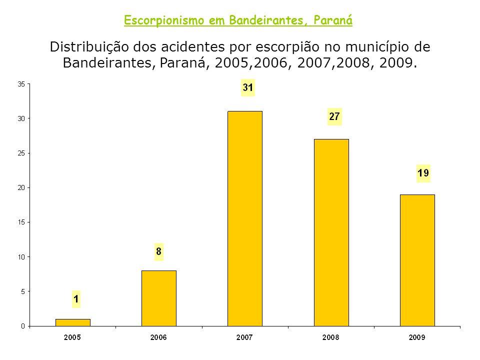 Distribuição dos acidentes por escorpião no município de Bandeirantes, Paraná, 2005,2006, 2007,2008, 2009. Escorpionismo em Bandeirantes, Paraná