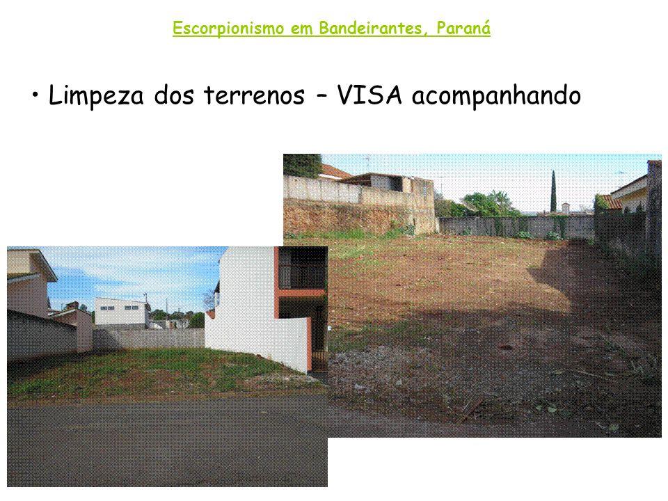 Limpeza dos terrenos – VISA acompanhando Escorpionismo em Bandeirantes, Paraná