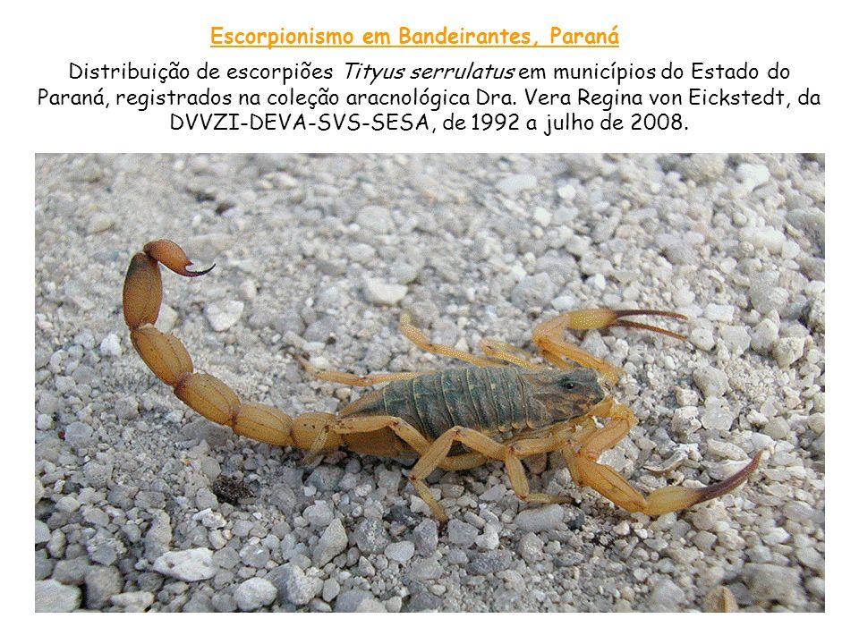Distribuição de escorpiões Tityus serrulatus em municípios do Estado do Paraná, registrados na coleção aracnológica Dra. Vera Regina von Eickstedt, da