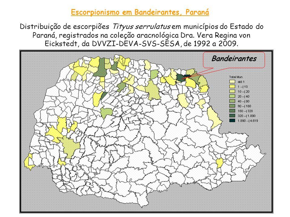Escorpionismo em Bandeirantes, Paraná Distribuição de escorpiões Tityus serrulatus em municípios do Estado do Paraná, registrados na coleção aracnológ