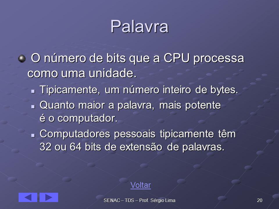 20SENAC – TDS – Prof.Sérgio Lima Palavra O número de bits que a CPU processa como uma unidade.