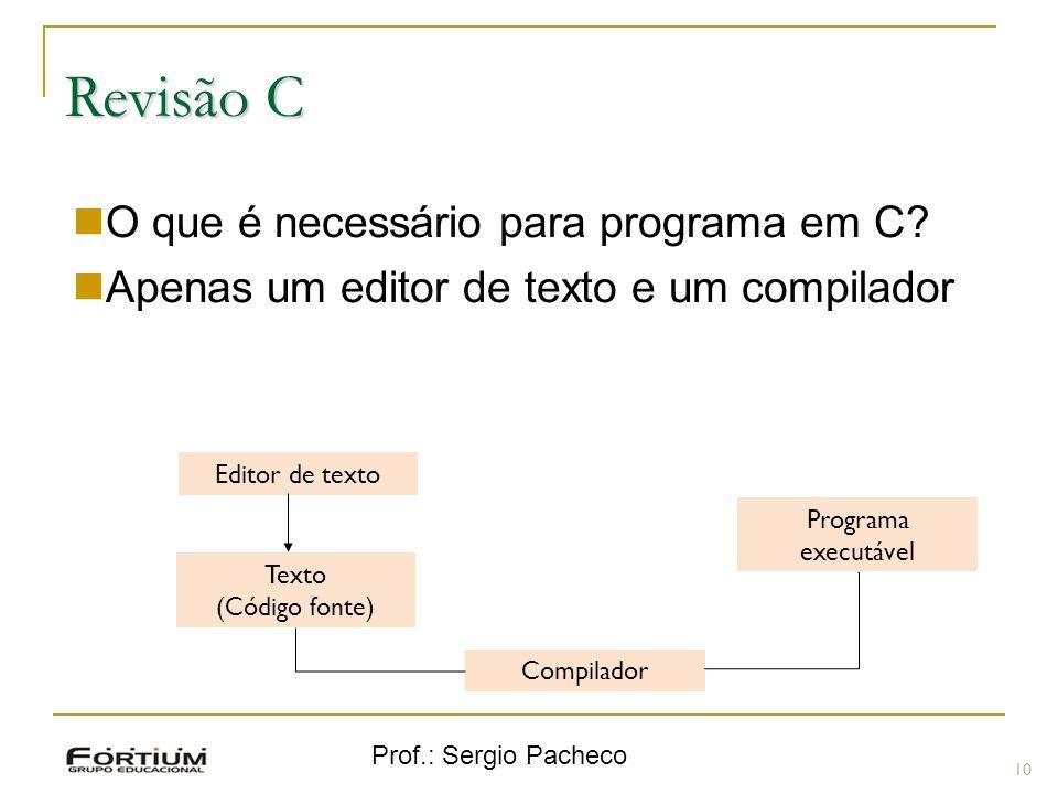 Prof.: Sergio Pacheco Revisão C 10 O que é necessário para programa em C? Apenas um editor de texto e um compilador Programa executável Compilador Tex