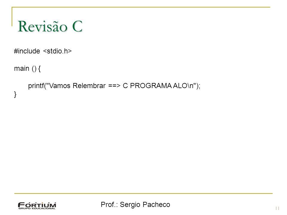 Prof.: Sergio Pacheco Revisão C 11 #include main () { printf(